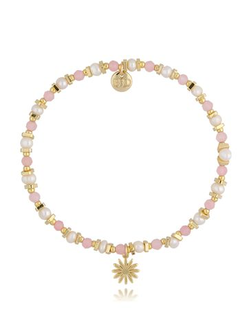Bransoletka z kwarcem różowym i kwiatuszkiem BSC0896