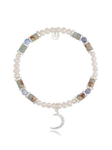 Bransoletka srebrna z perłami i jaspisami Scarlet BSC0979